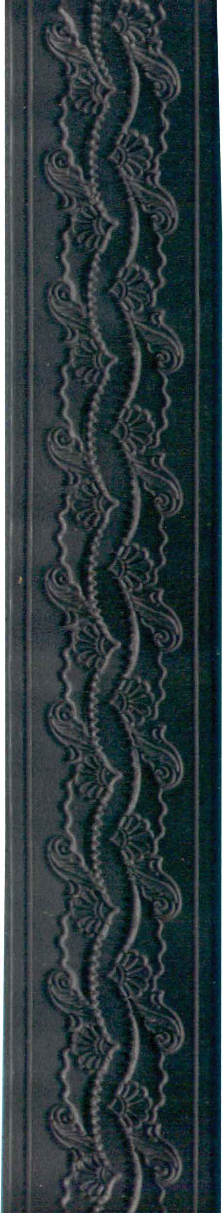 Black Tooled Belt Flowery Design