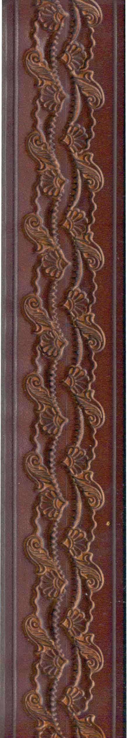 Chocolate Tooled Belt Flowery Design