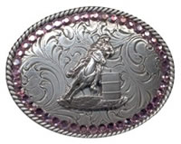 Little Pink stones barrel racer buckle