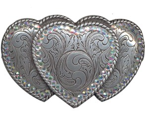 Triple Heart with rhinestone border