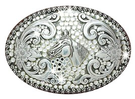 horsehead buckle with many rhinestones