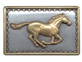 Running horse in rectangular buckle