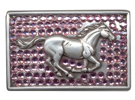 Pink Bling buckle with Running horse