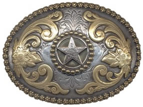 Star buckle in gold and silver color oval buckle