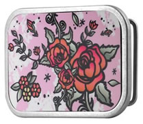 Roses with pink background glossy buckle