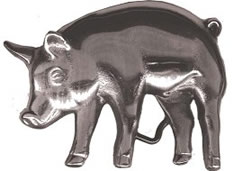 Chrome Pig cutout 3-D buckle