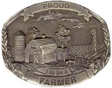 Proud Farmer brass tone buckle