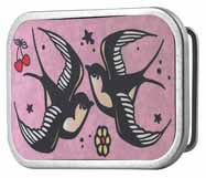 312233 Lucky pink swallows wood buckle
