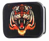 320238 Tiger buckle with black wood background