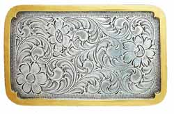 37230 Rectangle silver buckle with gold border
