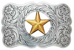 37232 Cutout Star in a Wavy Rectangular buckle