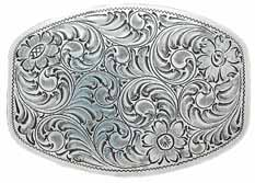 37237 Silver Design buckle, squared off oval shape