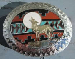 Native American Wolf Howling at the Moon Buckle sand painting
