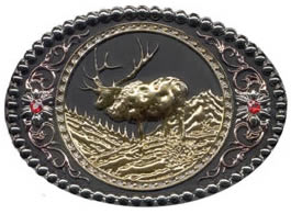 Gold and Silver Elk buckle