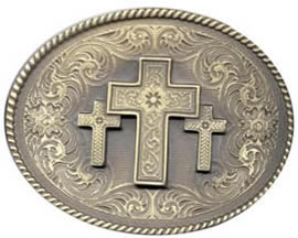 Three Crosses Brass Buckle