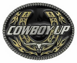 Cowboy Up Horseshoe buckle