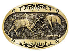 60800C Fighting Elk Brass Buckle