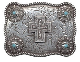 Turquoise color stone cross buckle