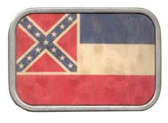 310008 Mississippi State Flag buckle in Wood