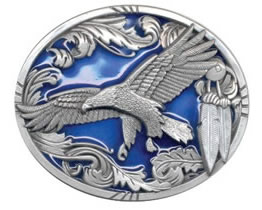 Flying Eagle buckle with feather border and blue background
