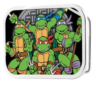 Ninja Turtles buckle with 4 turtles and shield