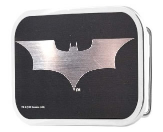 New Batman Logo in Silver and Black Rectangle buckle