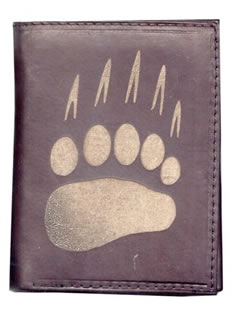 Leather Wallet with Bear Claw