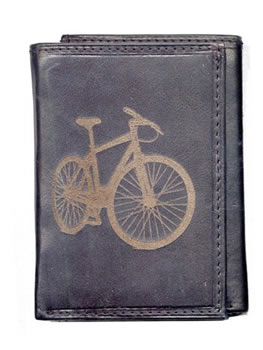 Leather Wallet with Bike