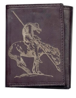 Leather Wallet with End of the Trail design