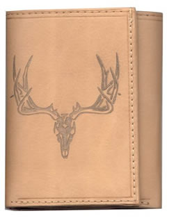 Leather Wallet with Elk Skull