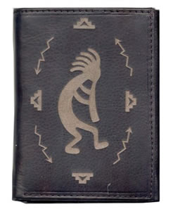 Leather Wallet with Kokapelli design
