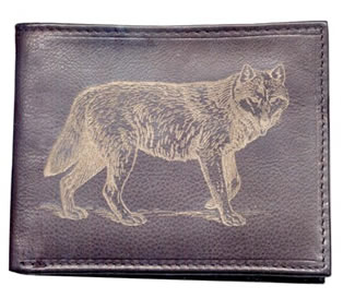 Leather Wallet with Wolf