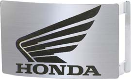 Honda Wing on Brushed Metal Rectangle buckle