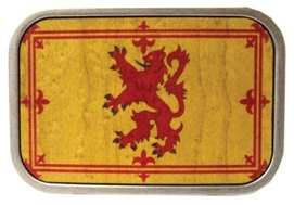 Rampant Lion Scottish Flag Buckle in wood