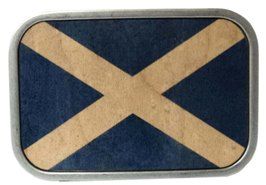 Blue and White Scottish Flag buckle in wood