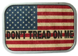 USA Don't tread on Me buckle in wood